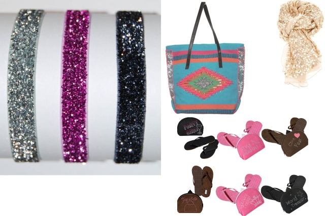 Glitter hair ties, pretty bag to carry everything (available on www.rangeboutique.com), sequin scarf (etsy.com) and foldable flip flops (flexflop.com)