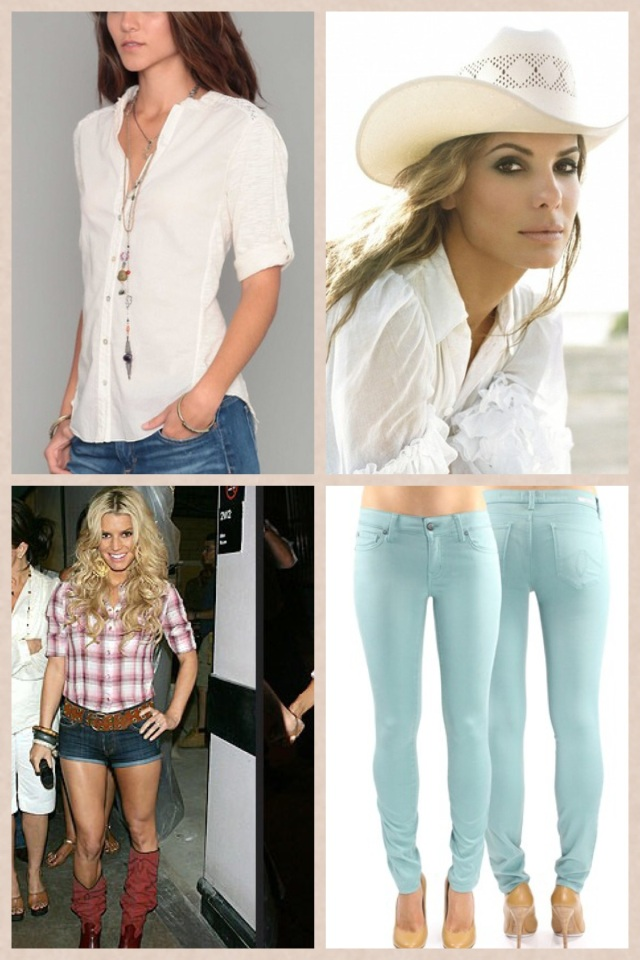 Some perfect pieces for Honky Tonk dancing including Lace Button Down by Dylan, cowboy hat, fitted skinnies in mineral blue by Level 99 & cowboy boots with daisy dukes. Jessica Simpson photo courtesy of People.com and Sandra Bullock photo courtesy of fanshare.com