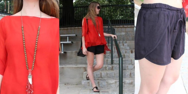 Red-silk-top-black-shorts