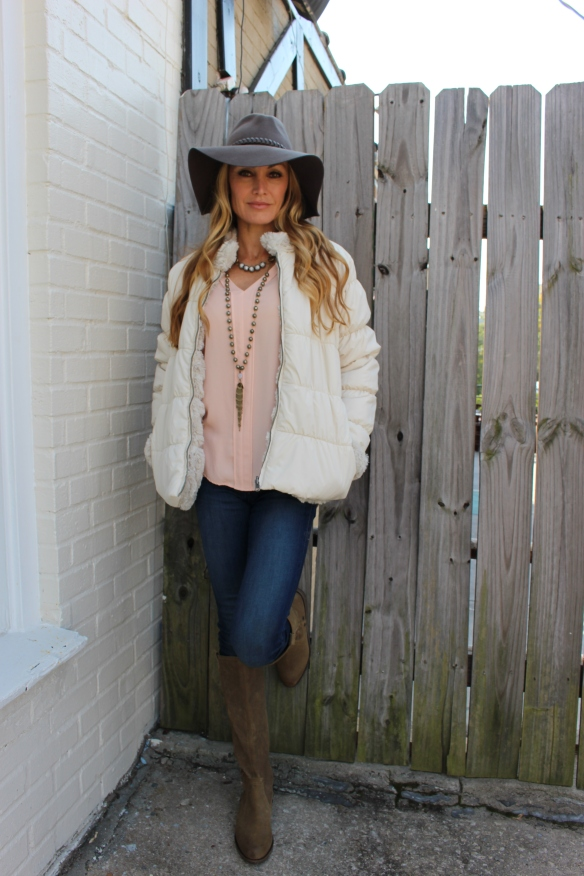 Floppy Hat, Furry Puffer Dylan Jacket, Ingrid Ysla Necklace, Veronica M Top, Suede Boots