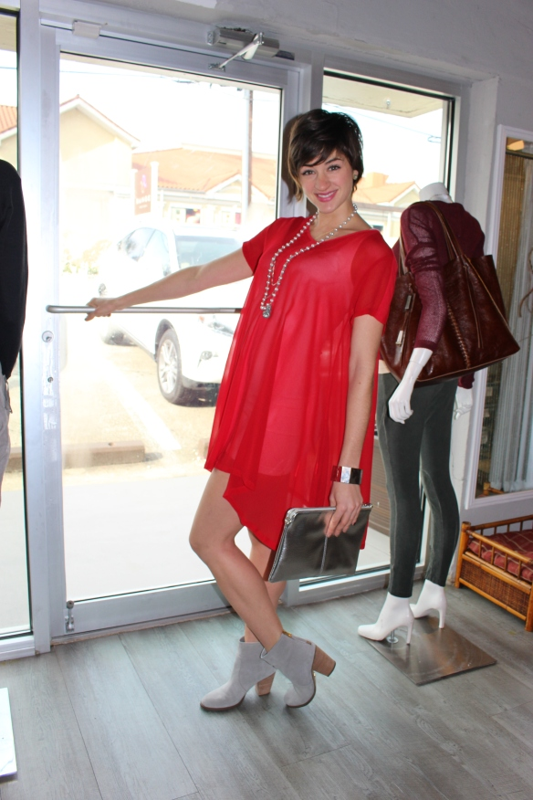 red dress, holiday clothes, lacausa, booties, metallic, clutch, cuff bracelets